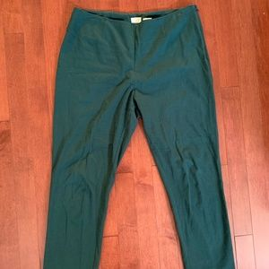High Waisted Green Skinny Trousers